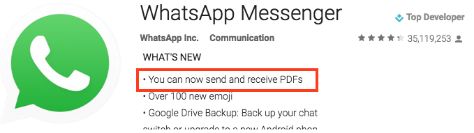 WhatsApp in the Android store indicating support for PDF.