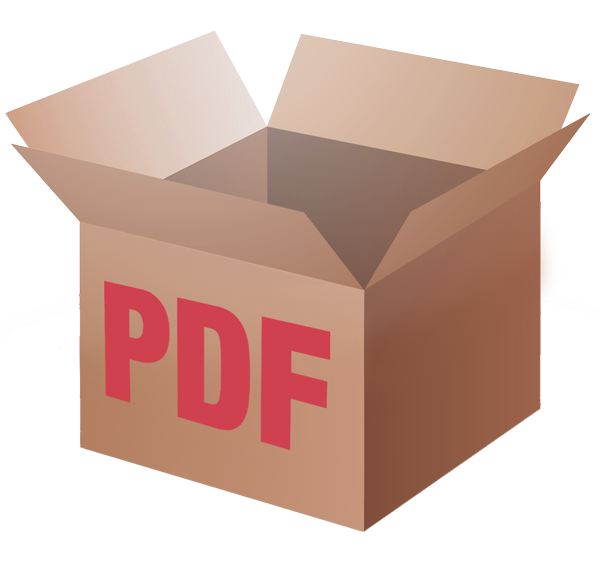 "Cardboard box with ""PDF"" written on the box."
